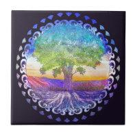 Tree of Life Love, Peace, Balance Ceramic Tile