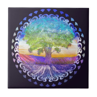 Tree of Life Love, Peace, Balance Ceramic Tile