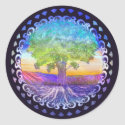 Tree of Life Love, Peace, Balance Classic Round Sticker