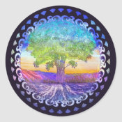 Tree of Life Love, Peace, Balance Classic Round Sticker (<em>$5.25</em>)