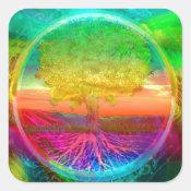 Tree of Life Miracles Square Sticker (<em>$5.25</em>)