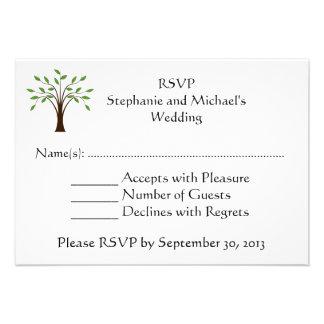 Tree of Life Modern Country Wedding RSVP Response Custom Announcement