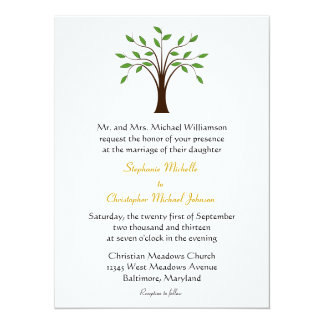 Tree of Life Modern Symbolic on White #2 Wedding 5.5x7.5 Paper Invitation Card