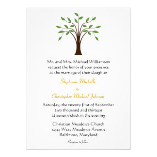 Tree of Life Modern Symbolic on White 2 Wedding Custom Invitation