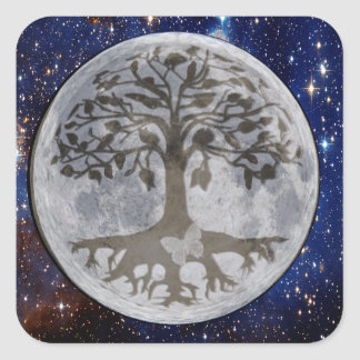 Tree of Life Moon Shadow Square Sticker
