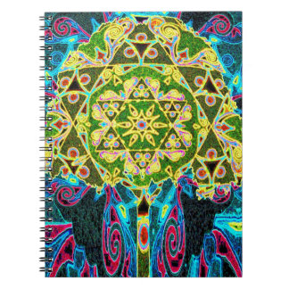 Tree of Life Mosaic Pattern Spiral Note Books