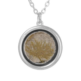 TREE OF LIFE, MOSS ON A ROCK SILVER PLATED NECKLACE