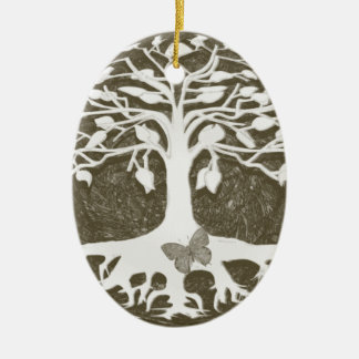 Tree of Life New Beginnings by Amelia Carrie Double-Sided Oval Ceramic Christmas Ornament