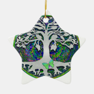 Tree of Life New Beginnings by Amelia Carrie Double-Sided Star Ceramic Christmas Ornament