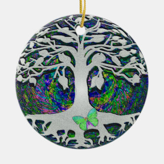Tree of Life New Beginnings by Amelia Carrie Double-Sided Ceramic Round Christmas Ornament