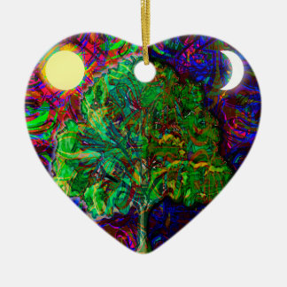 Tree of Life Night and Day Double-Sided Heart Ceramic Christmas Ornament