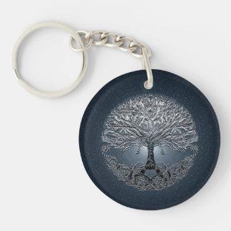 Tree of Life Nova Blue Double-Sided Round Acrylic Keychain