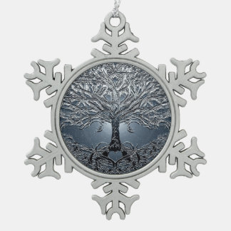 Tree of Life Nova Blue Snowflake Pewter Christmas Ornament