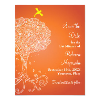 Tree of Life Orange Bat Mitzvah Save the Date 4.25x5.5 Paper Invitation Card