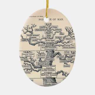 Tree Of Life / Pedigree Of Man Double-Sided Oval Ceramic Christmas Ornament