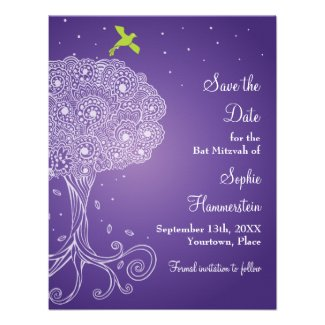 Tree of Life Purple Bat Mitzvah Save the Date Invites