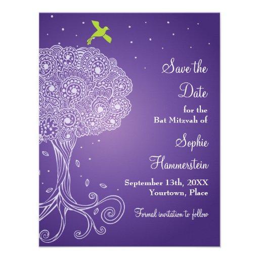 Tree of Life Purple Bat Mitzvah Save the Date Invites