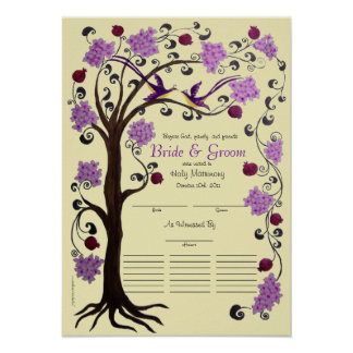 Tree of Life Quaker Wedding certificate (vpi) Poster