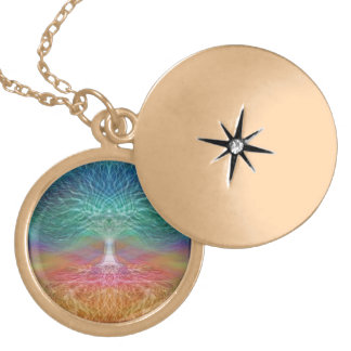 Tree of Life Rainbow Hearts Locket Necklace