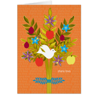 Tree of Life Rosh Hashanah Dove Flowers and Fruit Card