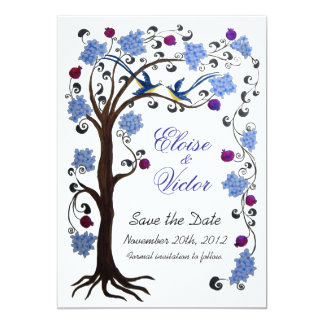 Tree of life Save the Date card (blue/white)
