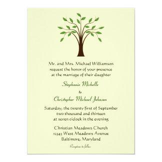 "Tree of Life Simple Symbolic (#3 Green) Wedding 5.5"" X 7.5"" Invitation Card"