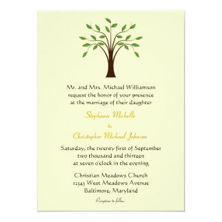 "Tree of Life Simple Symbolic Unique Modern Wedding 5.5"" X 7.5"" Invitation Card"