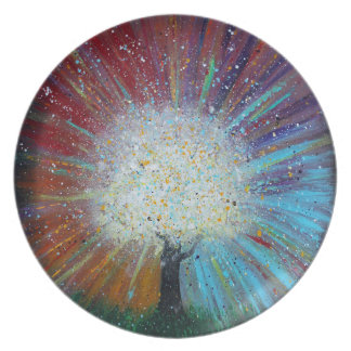 Tree of Life Springs Forth Abstract Art Plate