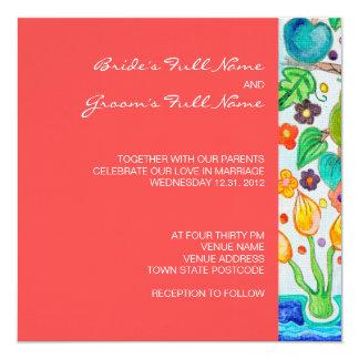 "Tree of Life Square Wedding Invitation 5.25"" Square Invitation Card"