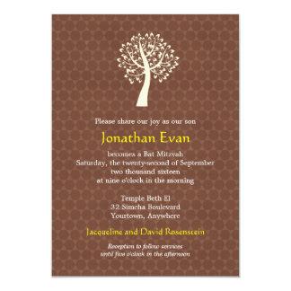 Tree of Life Star of David Pattern Bar-Bat Mitzvah Card