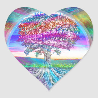 Tree of Life Heart Stickers