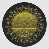 Tree of Life Sun Salutation Classic Round Sticker (<em>$5.25</em>)
