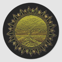 Tree of Life Sun Salutation Classic Round Sticker