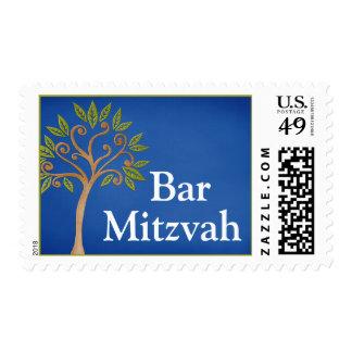 Tree of Life Swirls Blue Bar Mitzvah Postage