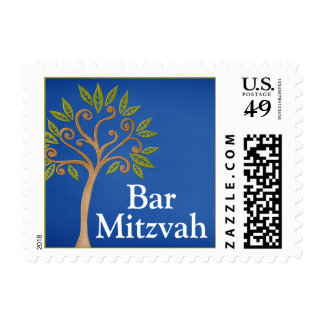 Tree of Life Swirls Blue Bar Mitzvah Postage
