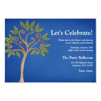 Tree of Life Swirls Blue Bar Mitzvah Reception Card