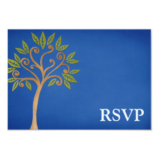 Tree of Life Swirls Blue Bar Mitzvah RSVP Invitations