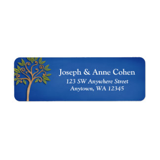 Tree of Life Swirls Blue Return Address Label