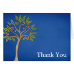 Tree of Life Swirls Blue Thank You Stationery Note Card