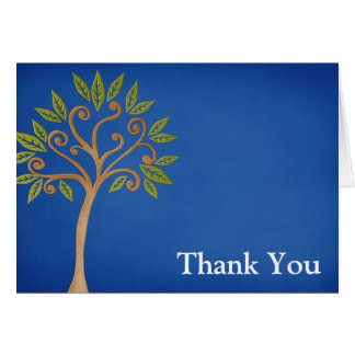 Tree of Life Swirls Blue Thank You Card