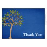 Tree of Life Swirls Blue Thank You Greeting Card