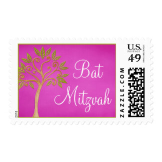 Tree of Life Swirls Pink Bat Mitzvah Postage