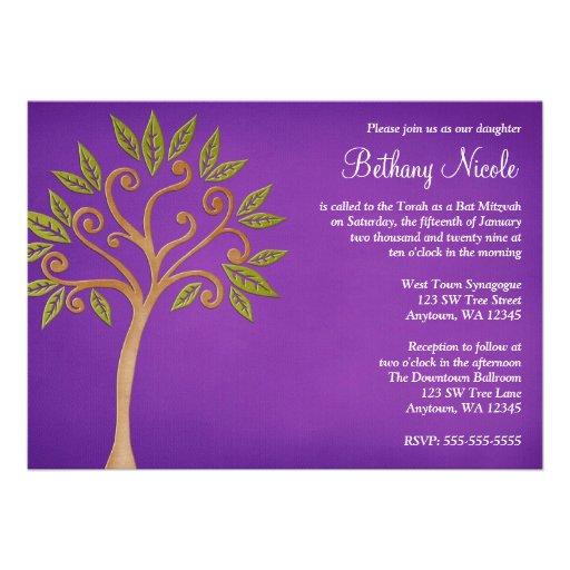 Tree of Life Swirls Purple Bat Mitzvah Invitations
