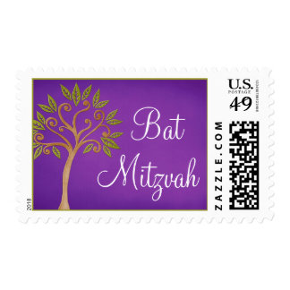 Tree of Life Swirls Purple Bat Mitzvah Postage