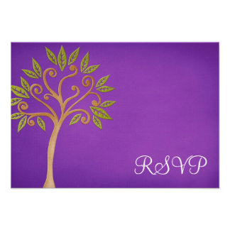 Tree of Life Swirls Purple Bat Mitzvah RSVP Personalized Invitation