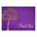 Tree of Life Swirls Purple Thank You Stationery Note Card