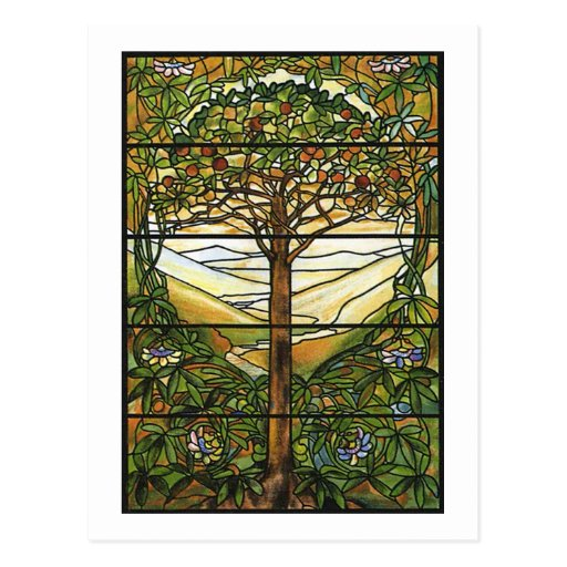Tree of Life/Tiffany Stained Glass Window Postcard