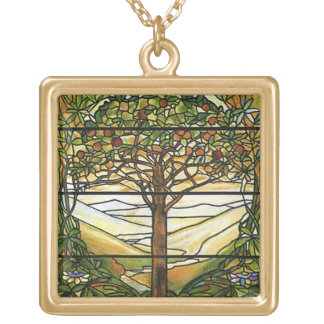 Tree of Life/Tiffany Stained Glass Window Square Pendant Necklace
