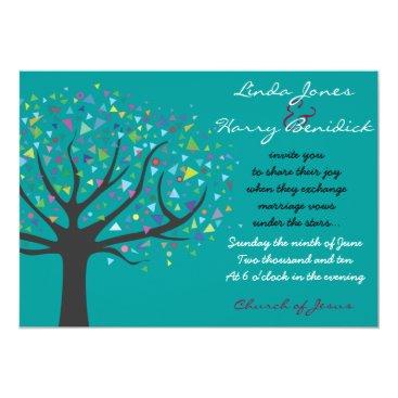 Beach Themed Tree of Life Wedding Invitation Engagement teal