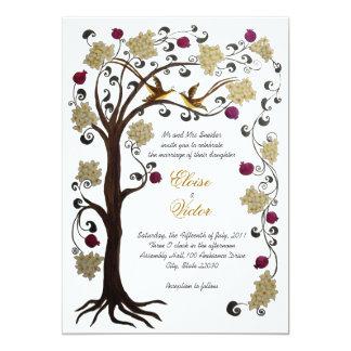 Tree of Life wedding invitation (v) cream /white